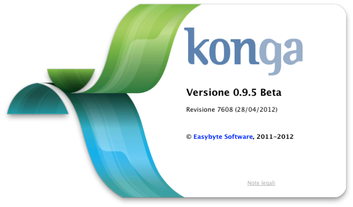 About box di Konga versione 0.95 Beta