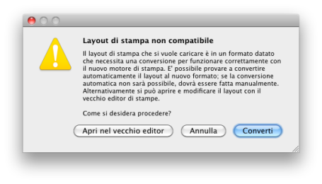 layout non compatibile