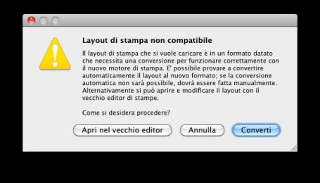 layout non compatibile